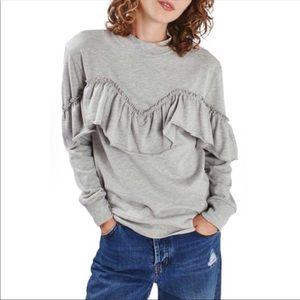❤️ TopShop Grey Ruffle Sweatshirt Size 2 ❤️